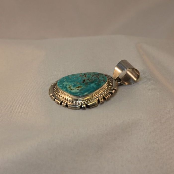 Turquoise Navajo Native American Pendant Necklace Sterling Silver Signed
