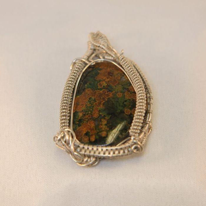 One of a kind Ocean Jasper brooch in sterling silver